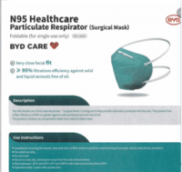 BYD Niosh N95 Disposable Respirator/Mask
