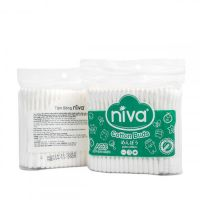 NIVA ZIPPER BAG OF 200 COTTON BUDS PLASTIC STICK FOR ADULT