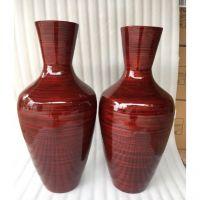 Red tall spun bamboo floor vase