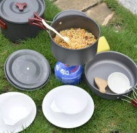 Hot sale cheap 4-6 person Portable Alloy Outdoor camping Cooking Set Cookware