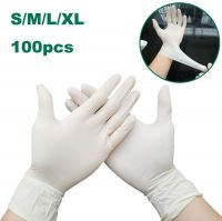 Disposable nitrile examination gloves without powder