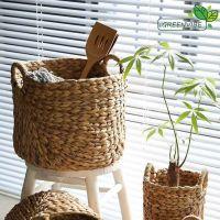 Water Hyacinth Basket, Eco friendly Cabinet Storage Baskets Natural Wicker Basket