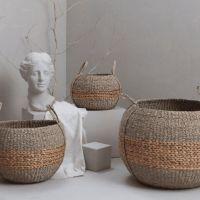 Seagrass Water Hyacinth Round Storage Basket