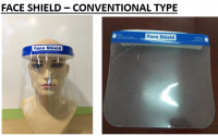 Face shield conventional type and without goggles