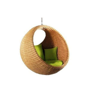 Arvabil Handmade Natural Bird Nest Swing, Natural Rattan
