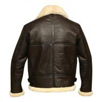 Leather fur aviator fashion jacket