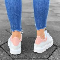 Women High Sole Sneakers White&Pink