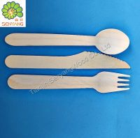 disposable birch wooden knife fork spoon