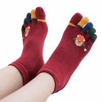 [DeParee] Ladies' Cotton Toes Socks ( cute icon printed )