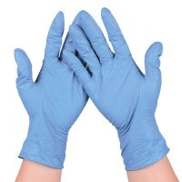 WHITE AND SKY BLUE NITRILE DISPOSABLE GLOVES