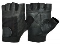 Weight lifting gloves spandex real leather material gloves half finger fitness gym glove