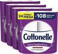 Original Cottonelle Ultra ComfortCare Soft Toilet Paper with Cushiony Cleaning Ripples, 24 Family Mega Rolls,
