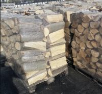 dry chopped firewood on pallets
