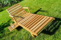 Wooden sun lounge  with extendable table