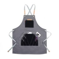 Customized Cross Back Salon Apron with Many Pockets for Hairdresser Harber