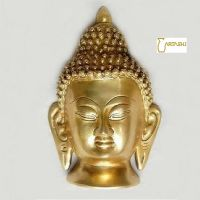Handcrafted Buddha Head Sculpture in Brass