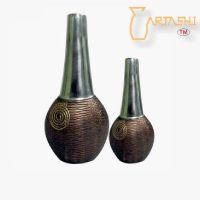 Long Vase Aluminium Set of two