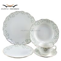New bone china waved rim leaf 20pcs dinner set