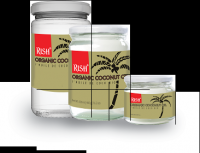 Organic Coconut Oil packed in glass jars or bottles