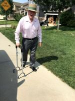Rock Steady Cane, Height Adjustable Quad Cane for Seniors with Soft Cushion Handle, Sit to Stand Walker