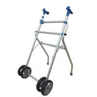 "Aluminum Walker, Lightweight Folding Walker, Height Adjustable Walker with 6"" Wheels"
