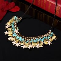 Traditional boho style turquoise flower necklace - MCX034
