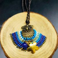 Boho Style Owl Braiding Pendant Necklace - MCX0123