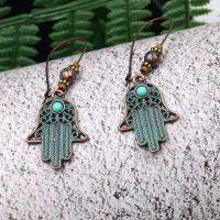 Bohemian khamsah earrings - HQEF-1134