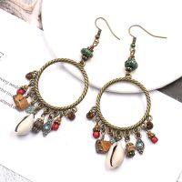 Boho handcraft alloy feather earrings - HQEF-1056