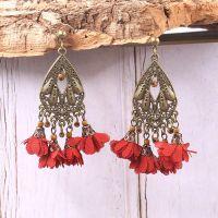 Vintage Chiffon Flower Earrings  - HQEF-1289