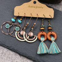 Bohemian tassel multi earrings - HQEF-1642