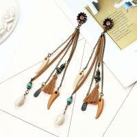 Vintage Seashell long earrings - HQEF-0747