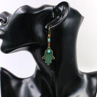 Boho handcraft alloy feather earrings - HQEF-1334