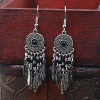 Boho handcraft alloy feather earrings - HQEF-0730