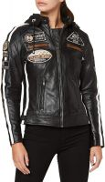 Women's Leather Motorcycle Jacket Slim Fit Lapel Zip Up Short | Lambskin Biker Jacket | CE Approved Removable Armour for Back, Shoulders and Elbows