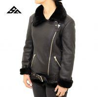 Sheepskin Leather Jacket With Side Zip & Belt