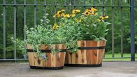 Wooden Barrel Pot Planters Oval Style Flower Plants Wooden Planter
