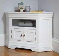 TV Unit Console Acacia Solid Wood Painter White Color