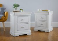 White Nightstand Bedside One/Two Drawers, New Style Storage Shelf Acacia Solid Wood