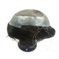 middle lace around clear PU toupee heavy density black color  32mm wave