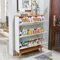 Light luxury entry door tipping bucket shoe cabinet, home doorway, space-saving, modern and simple entry hall cabinet, porch cabinet