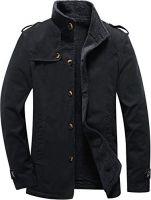 Men's Wool Blend Jacket Stand Collar Windproof