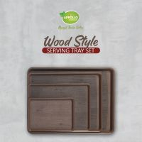 Appollo houseware Wooden Style plastic Smart Tray (Small, medium, Large, X-Large) high quality light weight tray for serving at parties and picnic easy to handle durable air tight serving tray unbreakable reusable easy to carry for serving in parties, hom