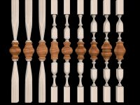 wooden staircase, wooden balusters, wooden handrails, moulding, wooden