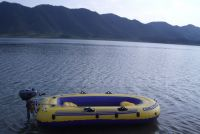 Inflatable boats with water-cooled marine outboard motor