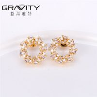 2017 latest top new model designs fashion brass plated 18K gold stud earring