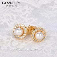 2017 Round Shape Dubai Pearl Earrings tops design  With Gold Plated