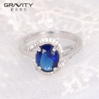 fashionable women silvery premier jewelry cheap wedding blue diamond cubic zirconia rings