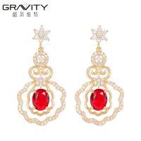 stylish  women 18k  rose gold wedding full ear pendant  jewelry earrings bridal