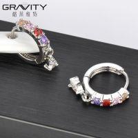 wholesale crystal women handmade sterling silver hoop wedding earring jewelry